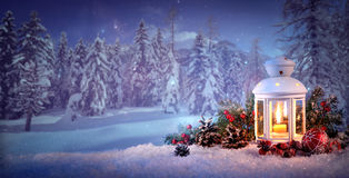 burning-lantern-snow-christmas-background-92742259