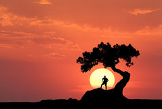 man-under-old-tree-background-yellow-sun-silhouette-standing-sporty-mountain-colorful-orange-sky-91075578